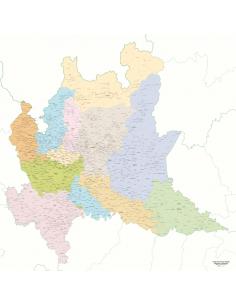 Mappa dei Comuni della Lombardia - Pannello 120x120 cm