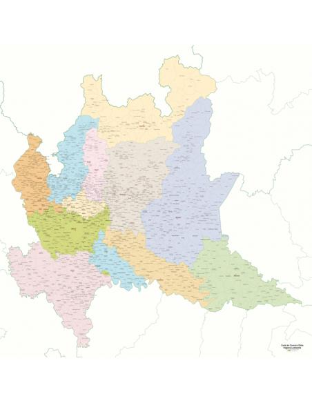 Cartina Lombardia Con Tutti I Comuni.Mappa Dei Comuni Della Lombardia Pannello 120x120 Cm