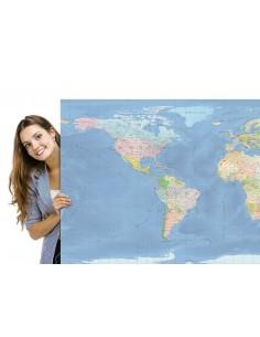 Mappa del Mondo (Natural) - PANNELLO 200 x 100 cm