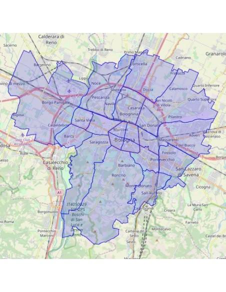 Bologna Cartina Quartieri.Mappa Dei Quartieri Di Bologna Kml