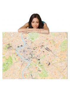 Mappa di Roma MAGNETICA con MONUMENTI 3D 100x120 cm