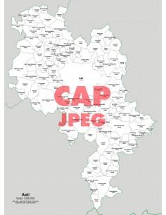 Mappa dei comuni e CAP della provincia di Asti jpg