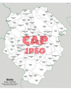Mappa dei comuni e CAP della provincia di Biella jpg