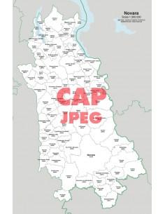 Mappa dei comuni e CAP della provincia di Novara jpg