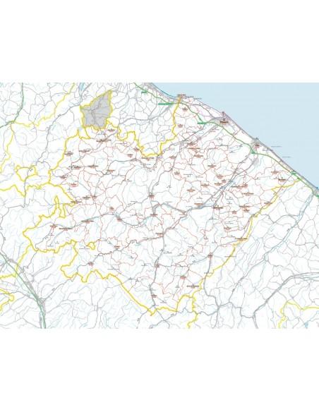 Cartina Geografica Provincia Di Pesaro Urbino.Carta Stradale Con Cap Della Provincia Di Pesaro Urbino Jpg