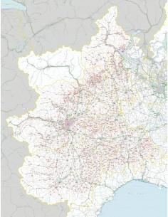 Carta stradale con CAP del Piemonte jpg