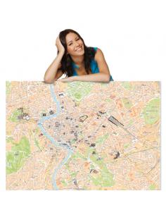 Mappa di Roma con MONUMENTI 3D - PANNELLO 100x140 cm