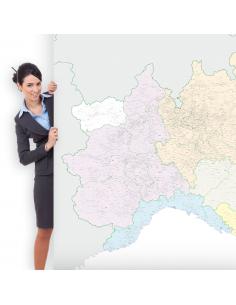 Mappa dei Comuni del Nord Italia 200x150 cm