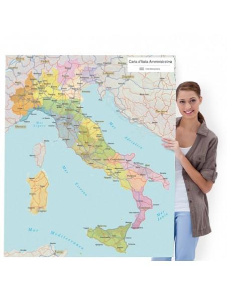 Cartina Italia Politica A Colori.Mappa Dell Italia Politica Pannello 100x115 Cm
