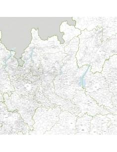 Mappa dei comuni della Lombardia - PANNELLO 110x110 cm