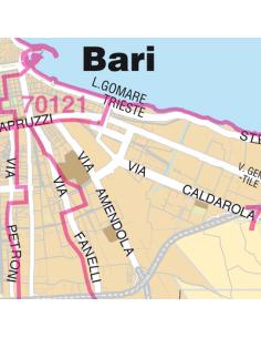 Mappa di Bari jpg 1:100.000 con CAP