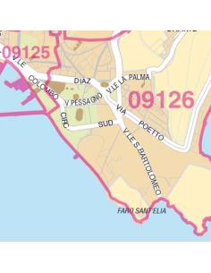 Mappa di Cagliari jpg 1:100.000 con CAP
