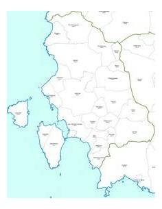 Mappa dei comuni e CAP della provincia di Carbonia-Iglesias jpg
