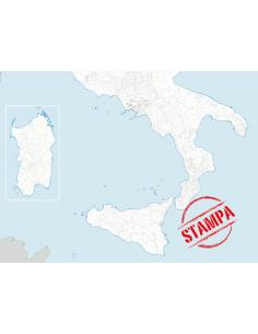Mappa dei Comuni del Sud Italia - PANNELLO 200x270 cm